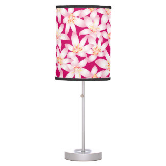 White and pink hibiscus floral table lamp
