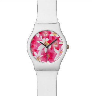White and pink hibiscus floral watch