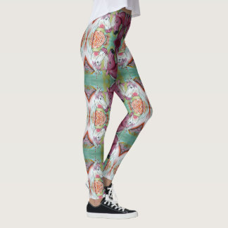 White And Pink Horse Leggings