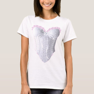 White and Pink Lace Corset T-Shirt