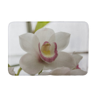 White and Pink Orchid Bath Mat