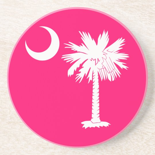 White and Pink Palmetto Moon Coaster