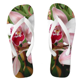 White and Pink Phalaenopsis Orchid Flip Flops