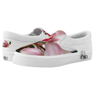White and Pink Phalaenopsis Orchid Slip-On Sneakers