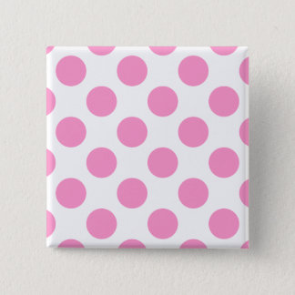 White and Pink Polka Dots 2 Inch Square Button