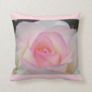 White and Pink Rose Throw Pillow
