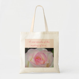 White and pink rose tote bag