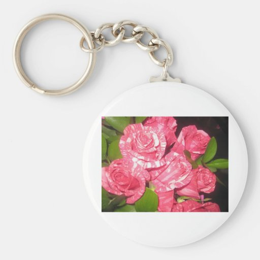 white and pink roses keychains