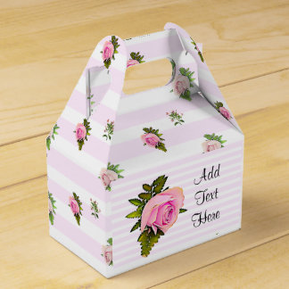 White and Pink Roses Striped Floral Chic Favor Box