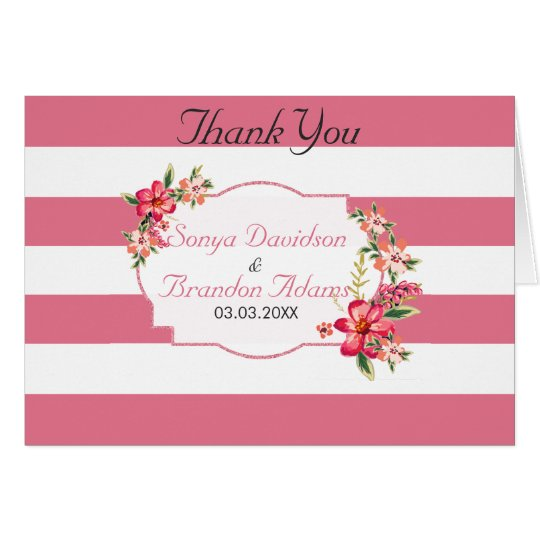 White And Pink Stripes Pattern - Thank You Card