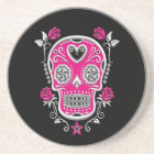 White and Pink Sugar Skull with Roses on Black Coaster