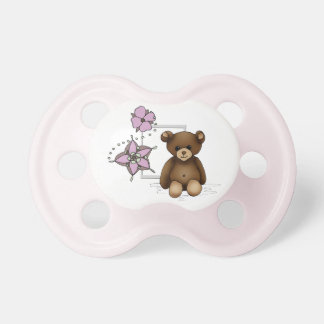 White and pink teat with teddy and flowers pacifier