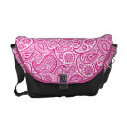 White And Pink Vintage Ornate Paisley Courier Bag