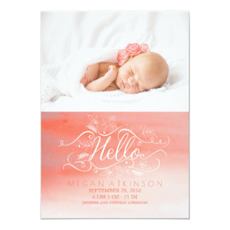 White and Pink Watercolor Newborn Baby Photo Birth Card