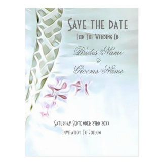 White and pink wedding save the date postcard