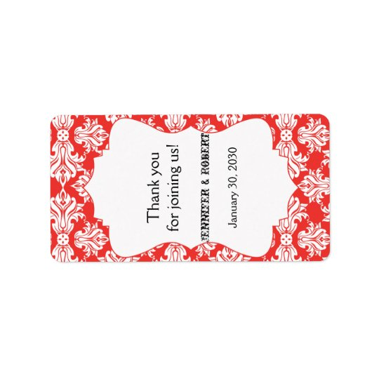 White and Poppy Red Damask Wedding Lip Balm Label