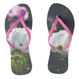 White and purple anemone flowers flip flops