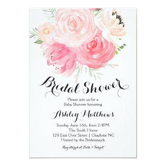white and purple Floral Bridal Shower Invitation