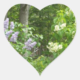 White and Purple Lilacs Heart Sticker