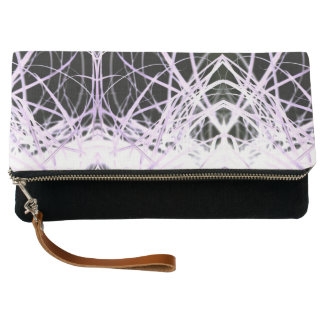 White And Purple Lines Clutch Bag