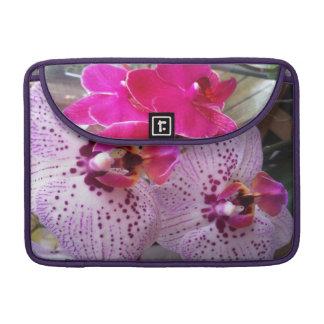 White and purple Orchid Rickshaw Macbook Sleeve