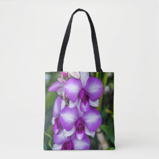 White and purple orchids all-over-print tote bag