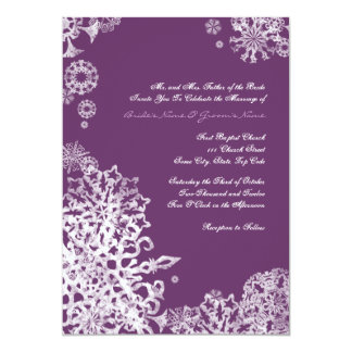 White and Purple Snowflakes Wedding Invitation 3