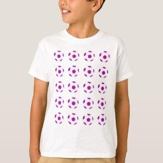 White and Purple Soccer Ball Pattern T-Shirt