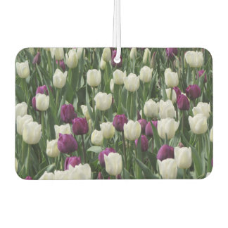 White and Purple Tulips Car Air Freshener
