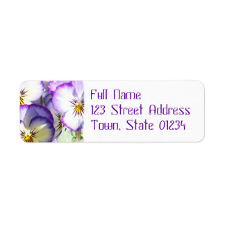 White and Purple Violas Mailing Label