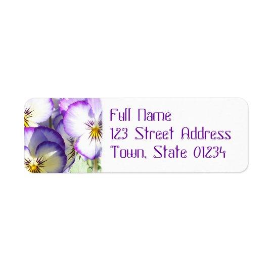 White and Purple Violas Mailing Label