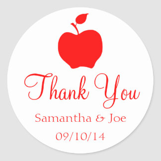 White and Red Apple Thank You Classic Round Sticker