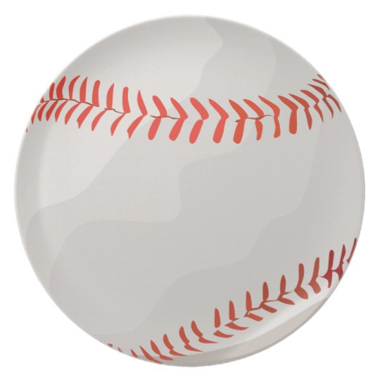 White and Red Baseball Melamine Plate