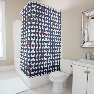 White and Red Bunnies / Rabbits Shower Curtain
