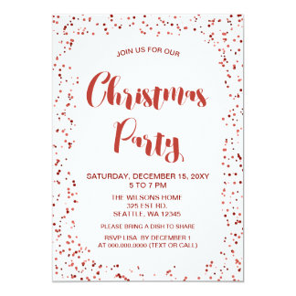 White and Red confetti Modern Christmas Party Card