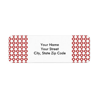 White and Red Diamond Pattern return address label