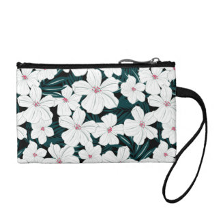 White and red flowers on green leaves coin purse