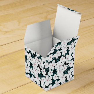 White and red flowers on green leaves favor box