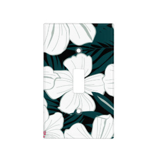 White and red flowers on green leaves light switch cover