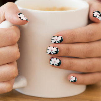 White and red flowers on green leaves minx nail art