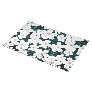 White and red flowers on green leaves placemat