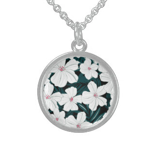 White and red flowers on green leaves sterling silver necklace