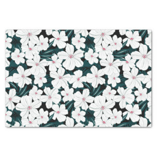 White and red flowers on green leaves tissue paper