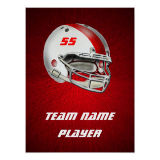 White and Red Football Helmet Poster