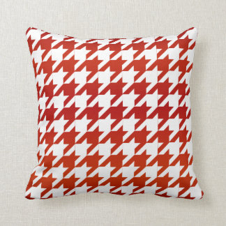 White and Red Houndstooth Pattern Throw Pillow