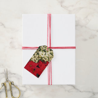 White and Red Poinsettias I Holiday Floral Gift Tags