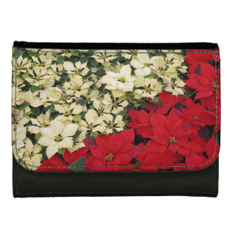 White and Red Poinsettias I Holiday Floral Leather Wallets