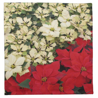 White and Red Poinsettias I Holiday Floral Napkin