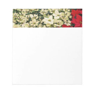 White and Red Poinsettias I Holiday Floral Notepad