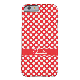 White and Red Polka Dot Barely There iPhone 6 Case